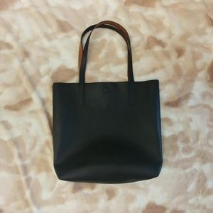 Black Faux Leather Textured Tote